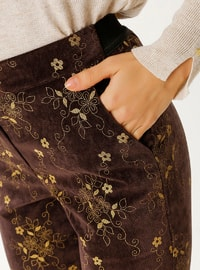 Brown - Floral - Pants