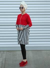 Red - Multi - Stripe - Acrylic - Cardigan