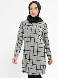 Gray - Checkered - Point Collar - Tunic