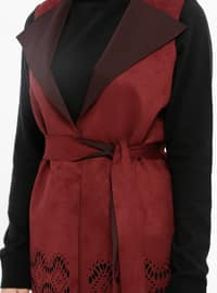 Maroon - Unlined - Shawl Collar - Vest