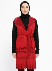 Red - Unlined - Shawl Collar - Vest
