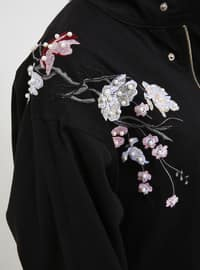 Black - Floral - Unlined - Point Collar - Cotton - Denim - Trench Coat