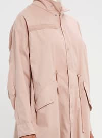 Pink - Unlined - Polo neck - Cotton - Trench Coat
