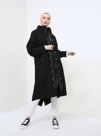 Black - Unlined - Polo neck - Cotton - Trench Coat