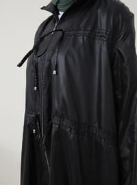 Black - Unlined - Polo neck - Trench Coat