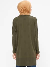 Khaki - Crew neck - Acrylic -  - Tunic