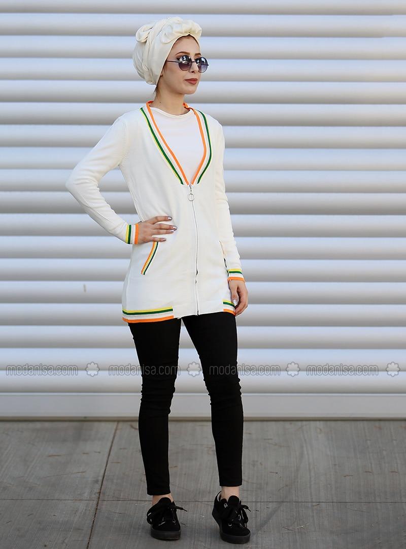 Ecru - Stripe - Acrylic - Cardigan