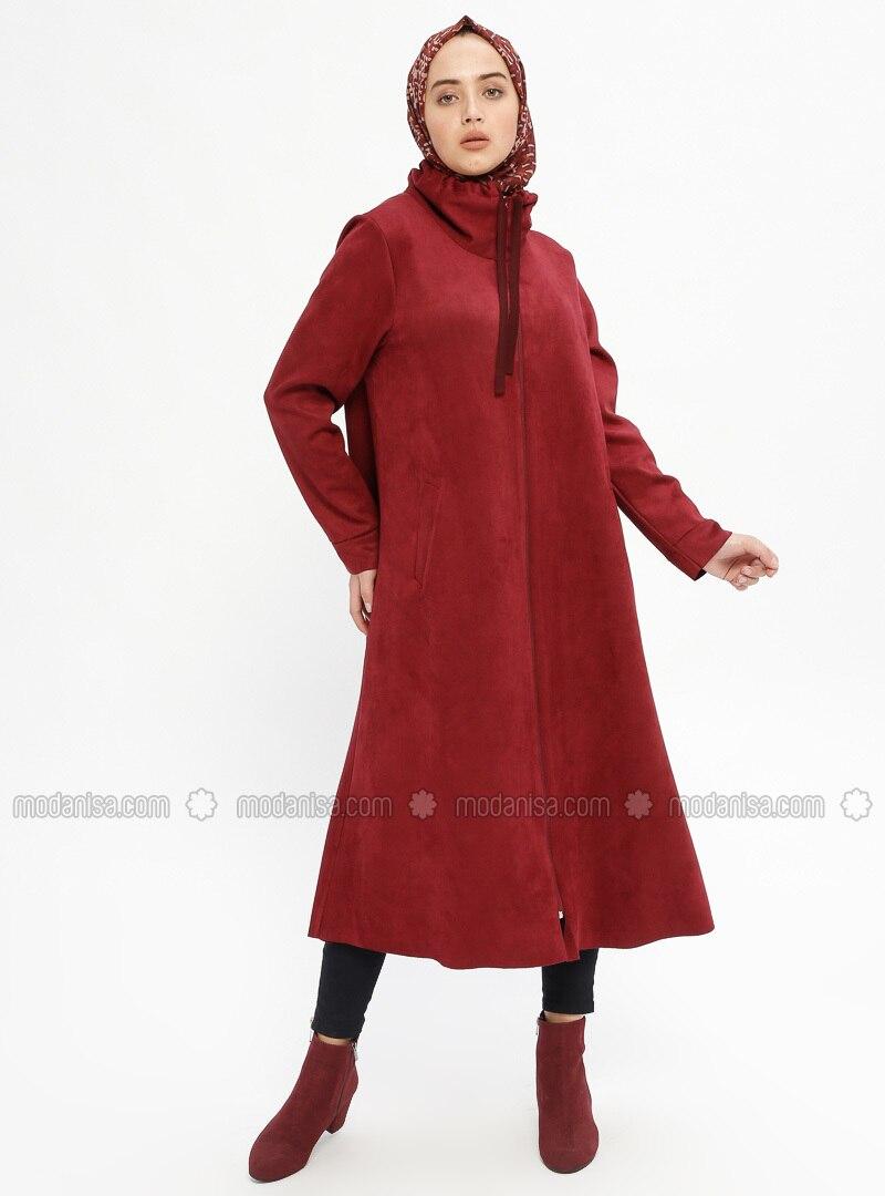 Maroon - Unlined - Polo neck - Topcoat