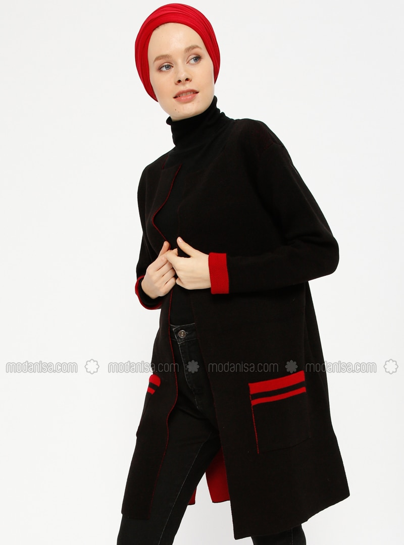 Red - Black - Acrylic -  - Cardigan