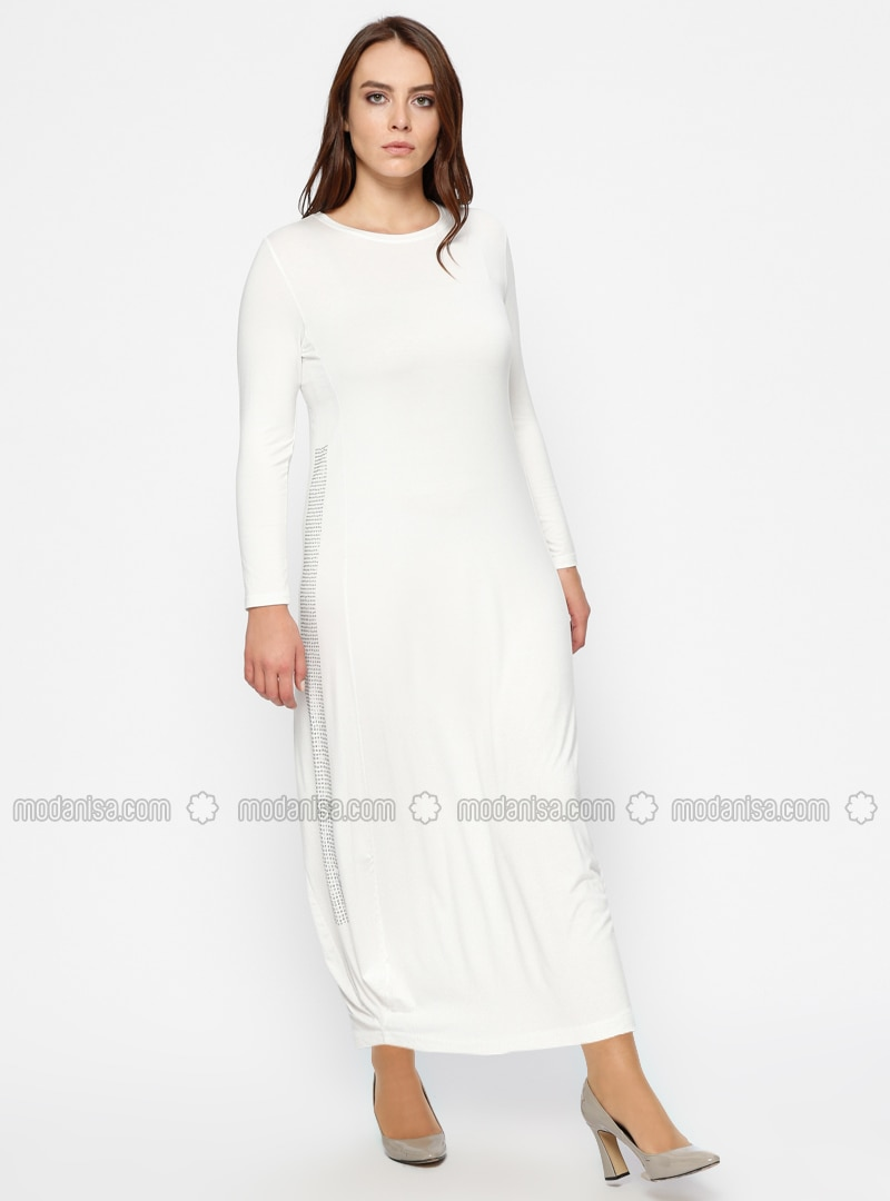 Ecru - Crew neck - Unlined - Plus Size Dress