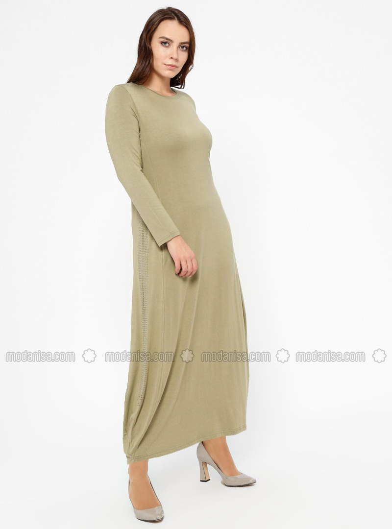 Green Almond - Crew neck - Unlined - Plus Size Dress