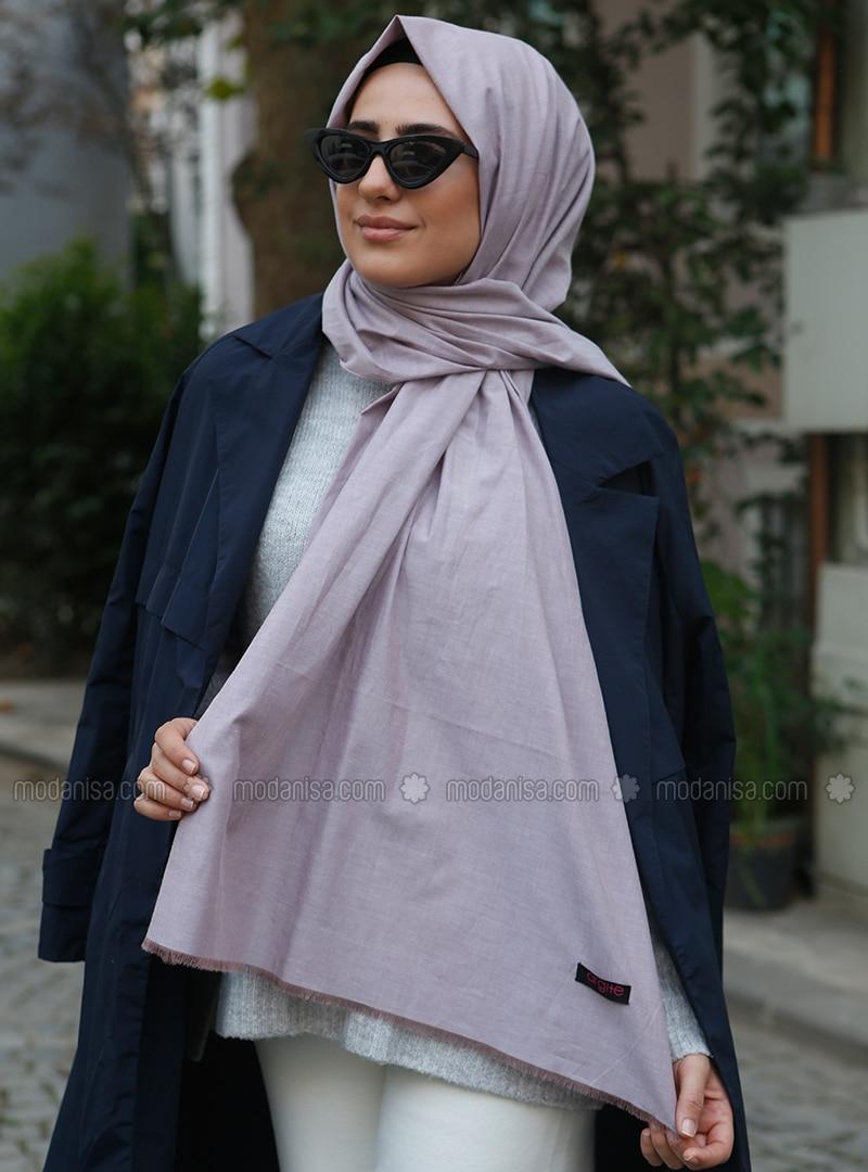 Powder - Plain - Cotton - Shawl -  Eşarp