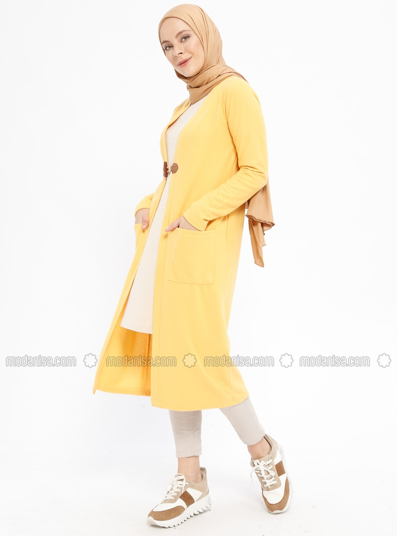 Yellow - Viscose - Cardigan