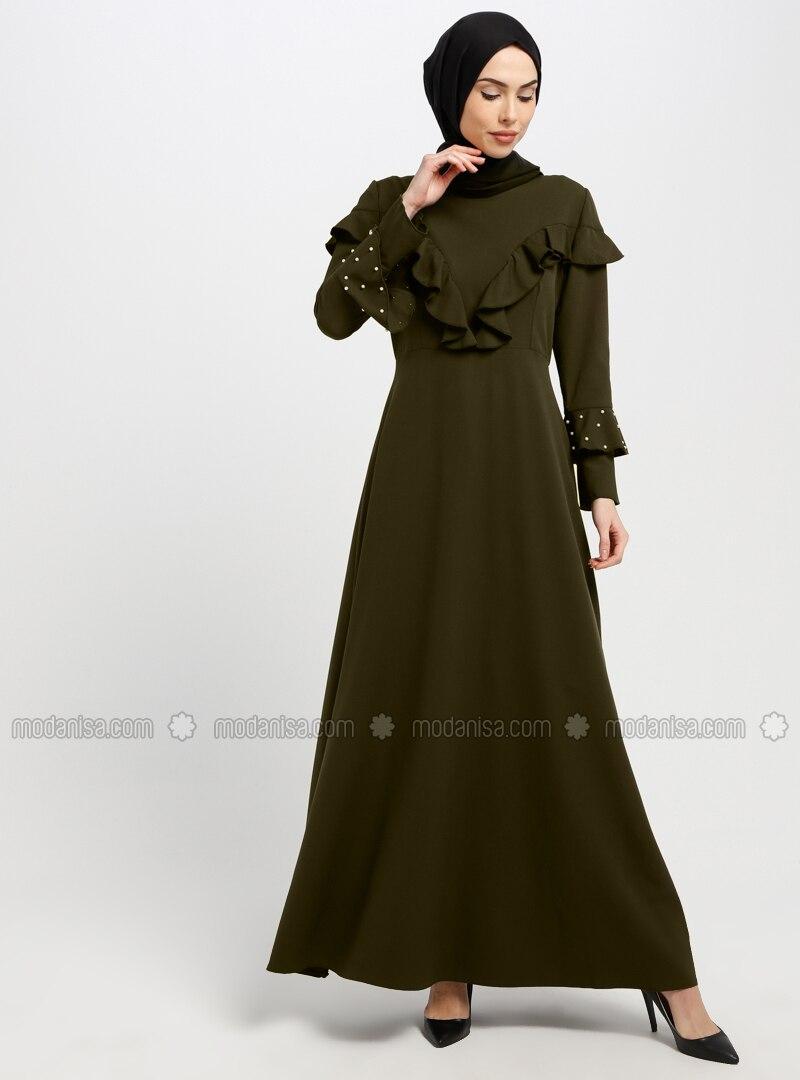 Grün - Khaki - Stehkragen - Ohne Innenfutter - Hijab Kleid