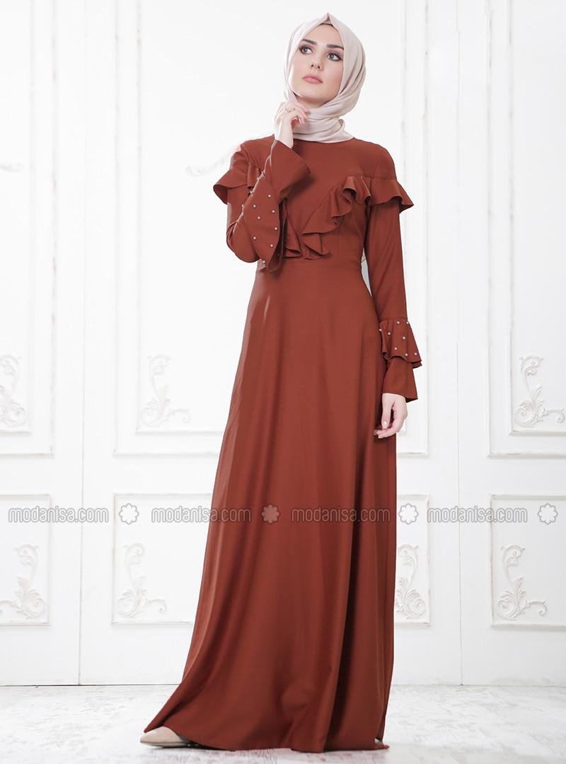 Terra Cotta - Crew neck - Unlined - Dresses
