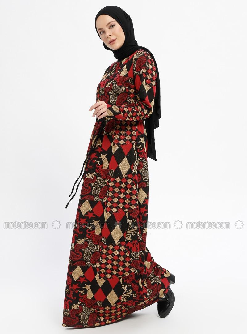 76a937e86cbb5 Rouge - Multicolore - Col rond - Tissu non doublé - Viscose - Robe