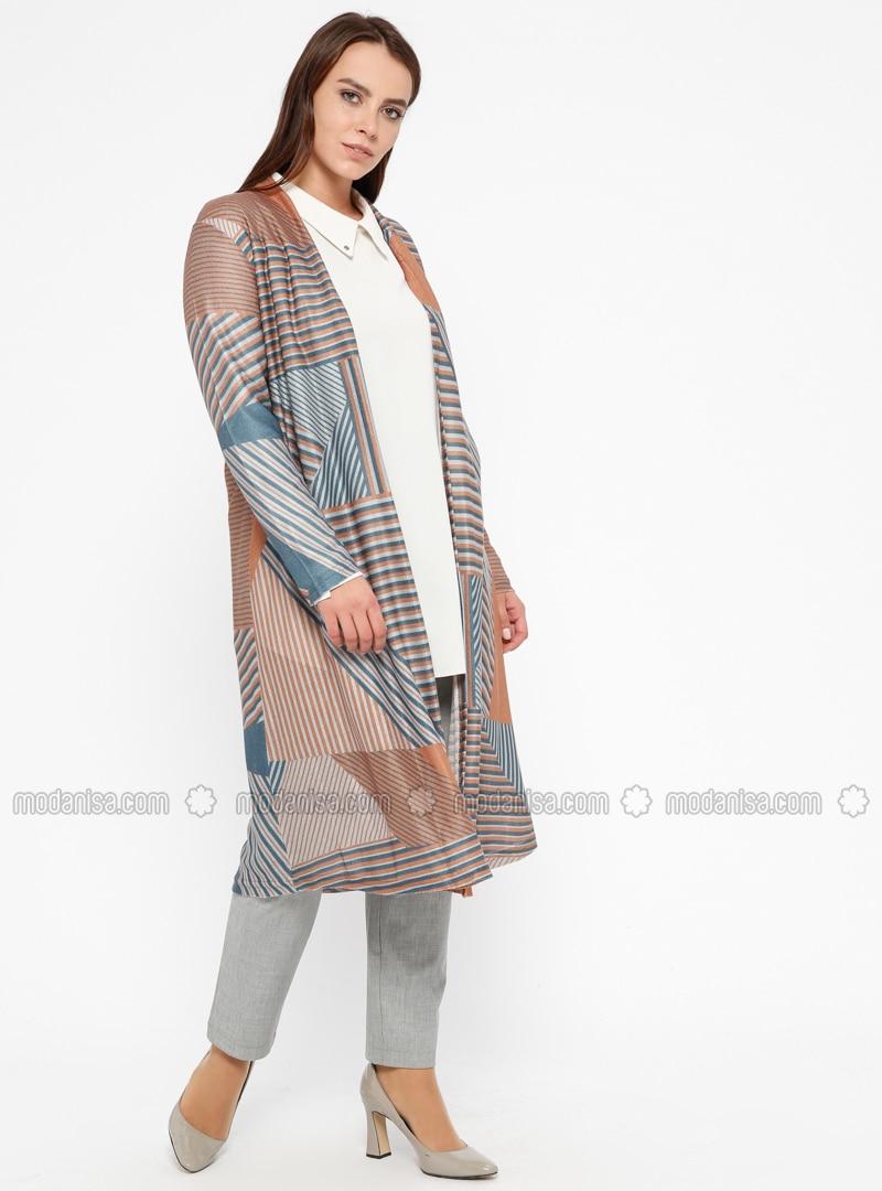 Navy Blue - Viscose - Plus Size Cardigan