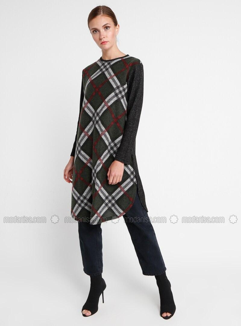 Khaki - Plaid - Crew neck - Plus Size Tunic
