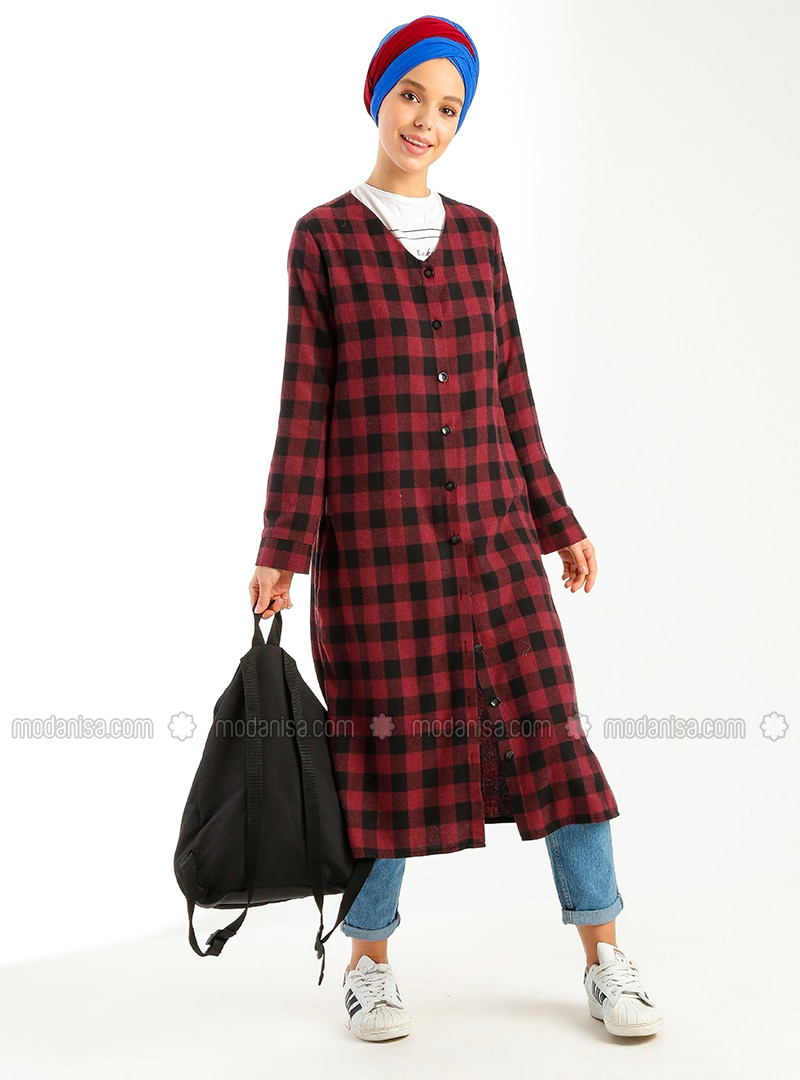 Maroon - Checkered - V neck Collar - Cotton - Tunic