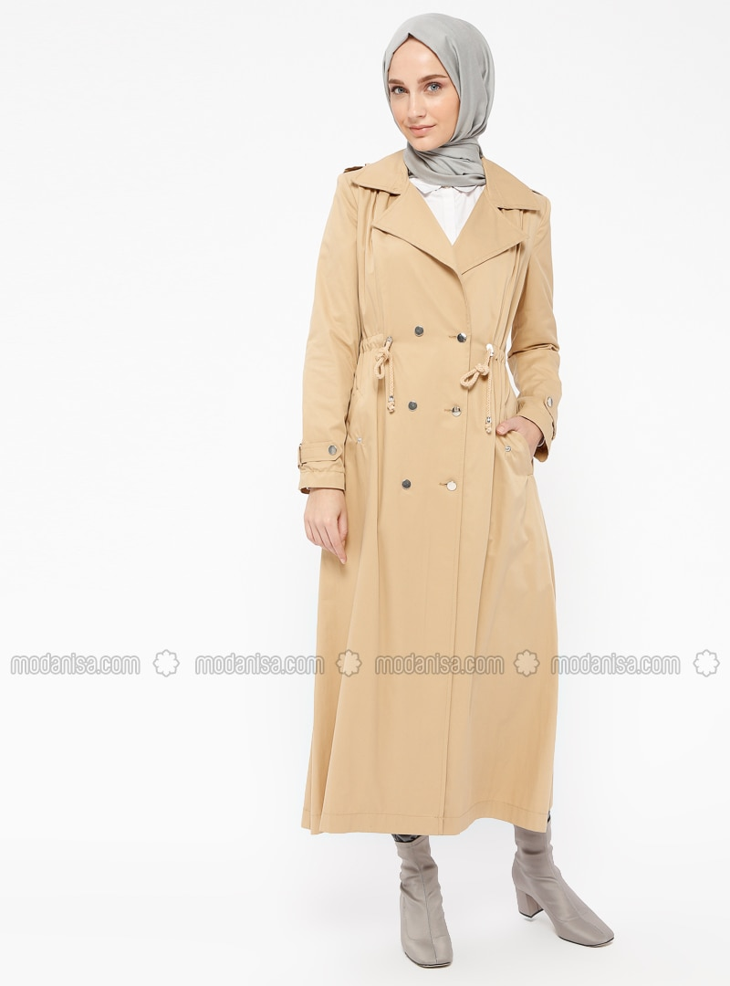 Camel - Fully Lined - Shawl Collar - Cotton - Trench Coat