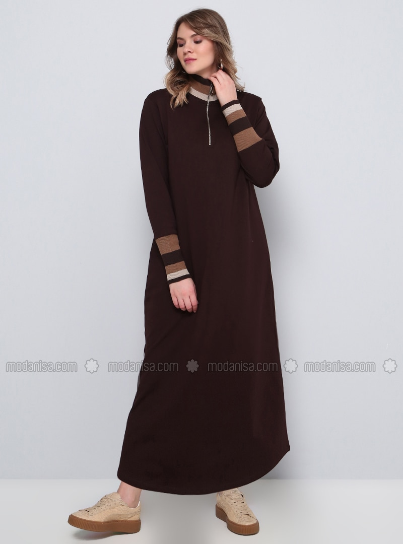release date dirt cheap free shipping Brown - Unlined - Polo neck - Plus Size Dress