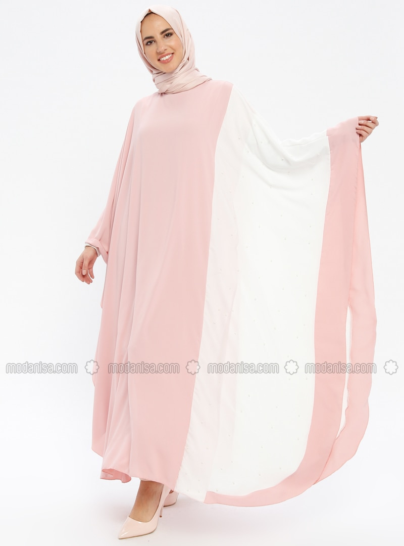 Beige - Powder - Unlined - Crew neck - Abaya