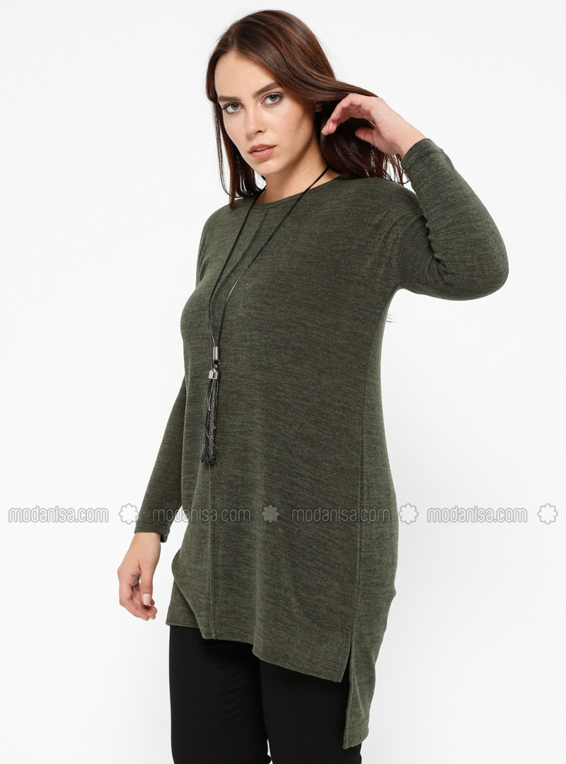 Khaki - Multi - Crew neck - Plus Size Jumper