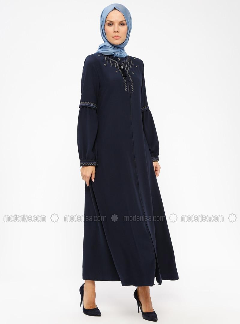 Navy Blue - Unlined - Crew neck - Abaya