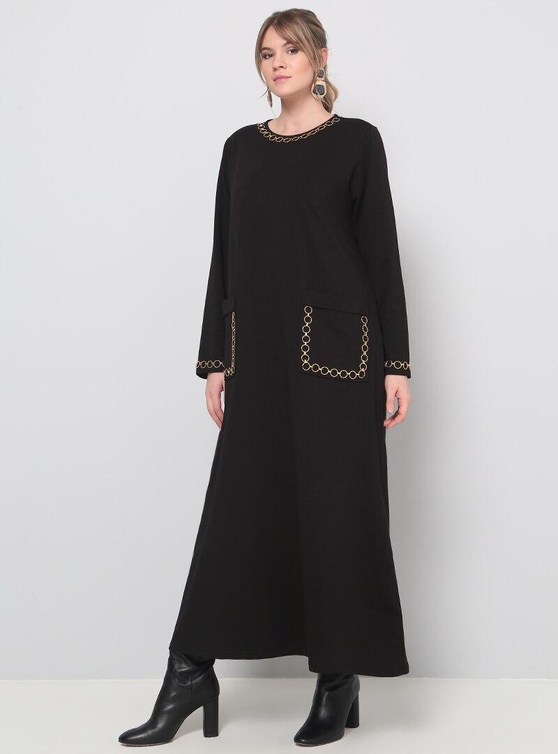 Alia Damen Schwarz Rundhals Maxi Kleid Maxikleid Pockets Langarm Übergröße
