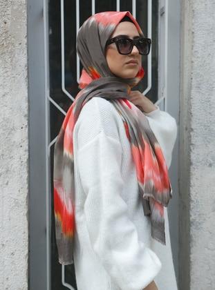 Orange - Printed - Cotton - Shawl