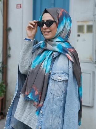 Blue - Printed - Cotton - Shawl
