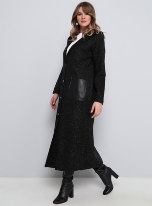 Black - Cotton - Plus Size Cardigan