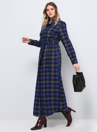 Blue - Navy Blue - Saxe - Plaid - Unlined - Point Collar - Cotton - Plus Size Dress