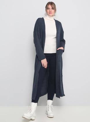 Blue - Navy Blue - Indigo - Acrylic -  - Plus Size Cardigan - Alia