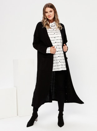 Black - Acrylic -  - Plus Size Cardigan - Alia