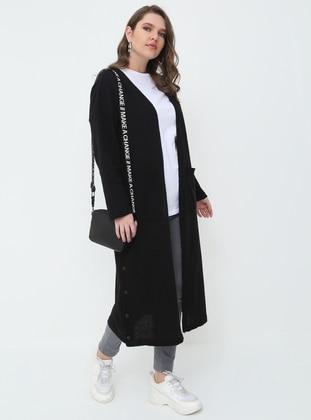 Black - Acrylic -  - Plus Size Cardigan