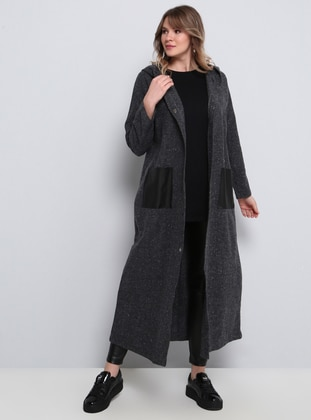 Anthracite - Cotton - Plus Size Cardigan - Alia
