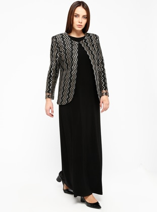 Gold - Stripe - Crew neck - Unlined - Plus Size Evening Suit