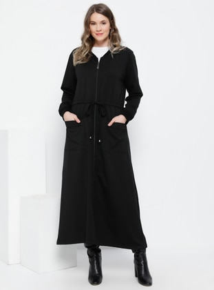 Black - Unlined - Crew neck - Cotton - Plus Size Coat - Alia