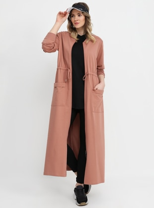 Salmon - Dusty Rose - Unlined - Crew neck - Cotton - Plus Size Coat - Alia