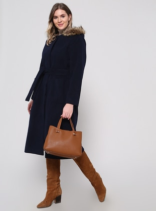 Navy Blue - Fully Lined - Plus Size Overcoat - Alia