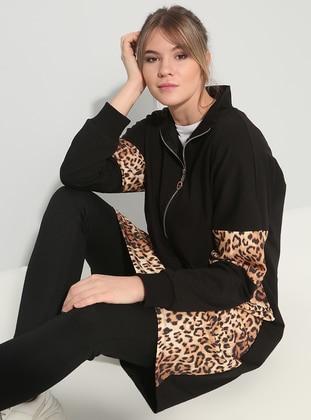 3bfdb9c4306 Black - Brown - Leopard - Polo neck - Cotton - Plus Size Tunic
