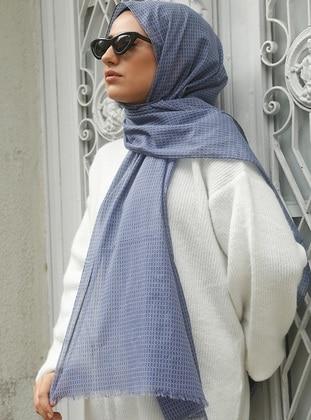Blue - Printed - Plaid - Cotton - Shawl