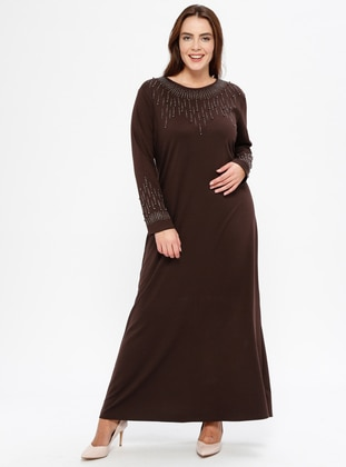 Brown - Unlined - Crew neck - Muslim Plus Size Evening Dress