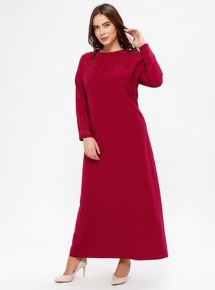 Cherry - Unlined - Crew neck - Muslim Plus Size Evening Dress