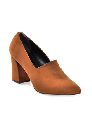 Vizon Topuklu Ayakkabı - Kahverengi