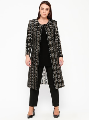 Black - Gold - Stripe - Crew neck - Unlined - Plus Size Suit