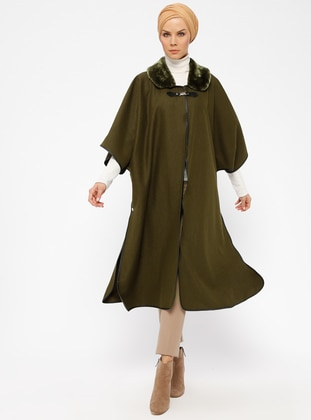 Khaki - Point Collar - Unlined - Poncho