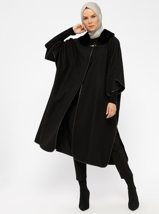 Black - Point Collar - Unlined - Poncho