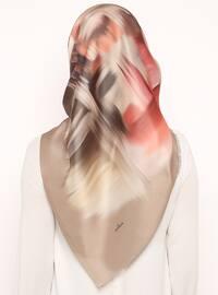 Beige - Printed - Digital Printing - Scarf - Renkli Butik